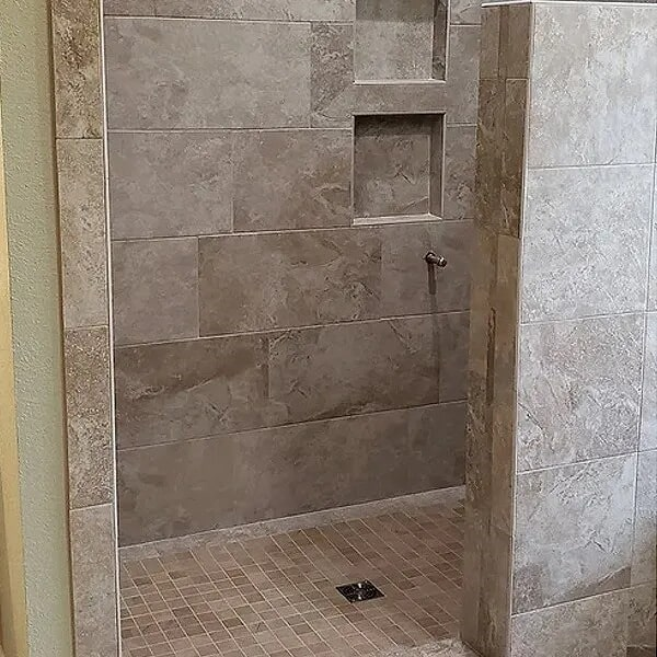Stone shower installation in Beaumont, TX from Odile's Fine Flooring & Design
