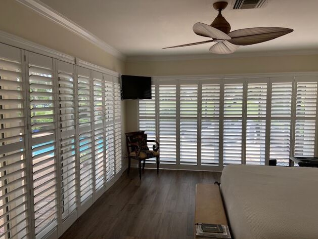 Custom plantation shutter installation we just completed for Randall G in Atlantis from Capitol Carpet & Tile and Window Fashions in Boynton Beach, FL