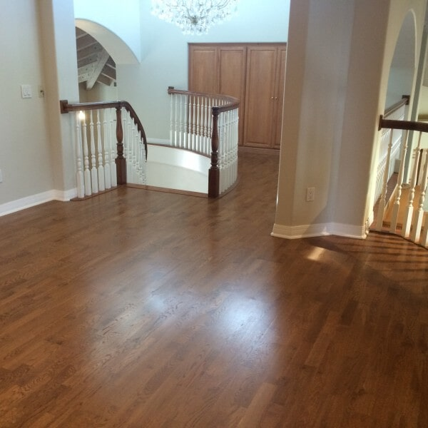 Hardwood stairway landing in Chandler, AZ from Abel Carpet Tile & Wood