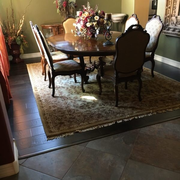 Dark hardwood dining area in Queen Creek, AZ from Abel Carpet Tile & Wood