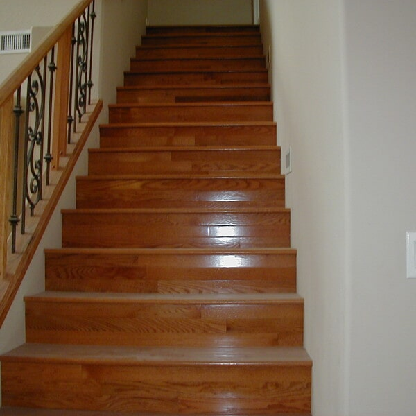 High gloss wood stairs in Chandler, AZ from Abel Carpet Tile & Wood