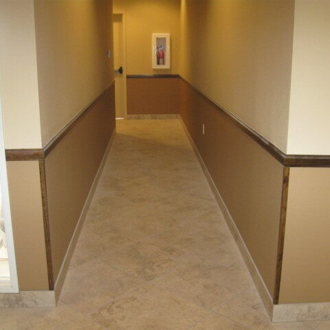 Commercial tile hallway in [[cms:city1] from Abel Carpet Tile & Wood