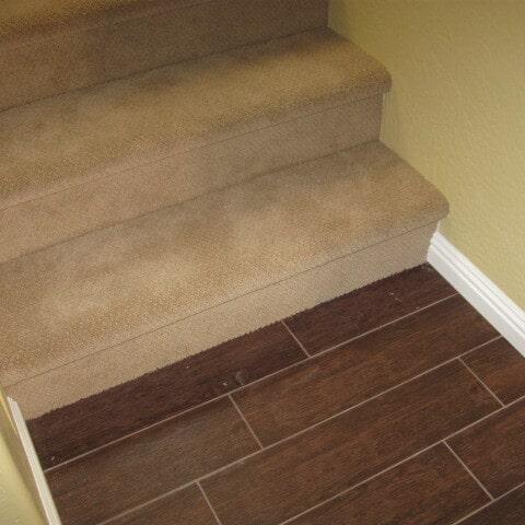 Wood look tile stair landing in Gilbert, AZ from Abel Carpet Tile & Wood