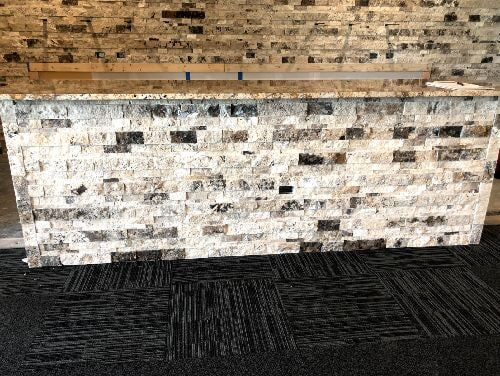 Natural ledger stone installation in Lockport, IL from Marchio Tile & Carpet Inc.