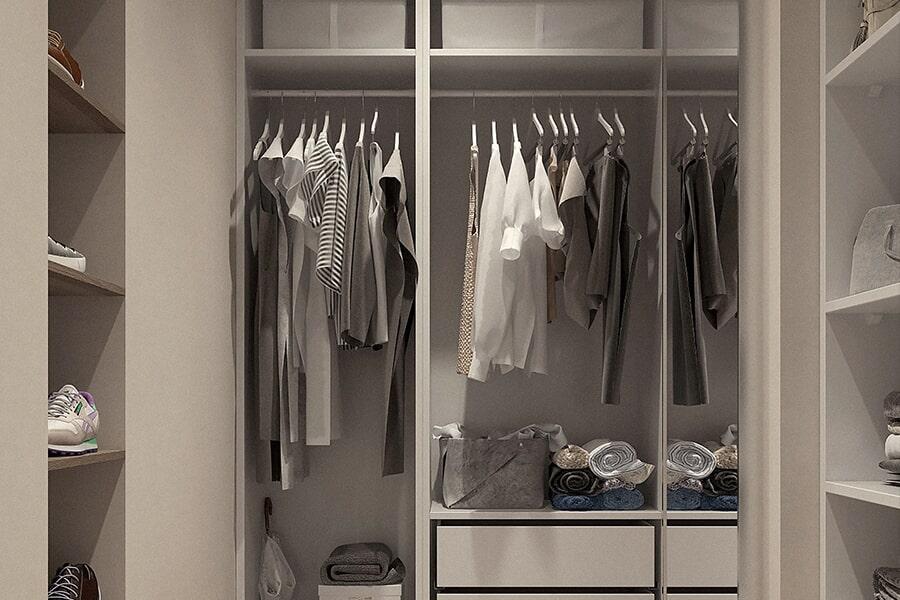 Modern closet in Elizabeth, NJ from Aldo Design Group