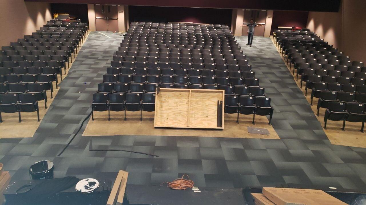 Auditorium flooring installation in Lebanon, TN from Absolute Flooring Inc