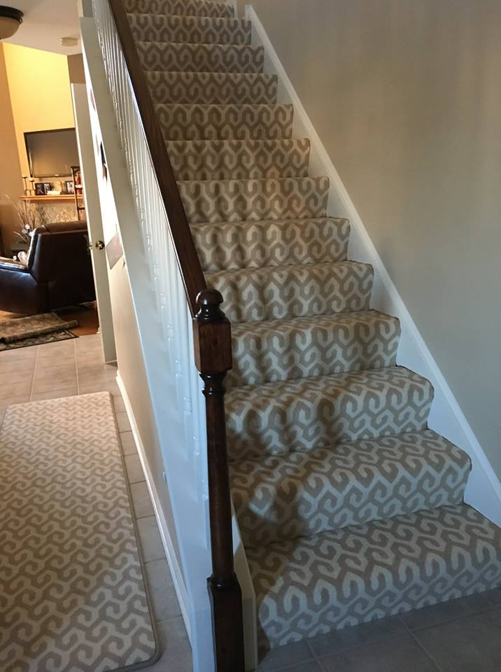 Patterned stair carpet in Romeoville, IL from Marchio Tile & Carpet Inc.