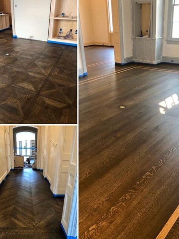 Custom pattern hardwood installation in Harahan, LA from Ron-Del Flooring Services Inc.