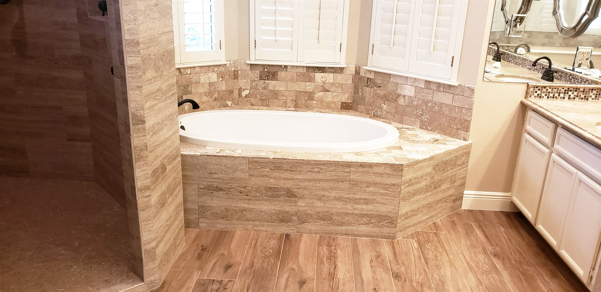 Tub installation in Beaumont, TX from Odile's Fine Flooring & Design