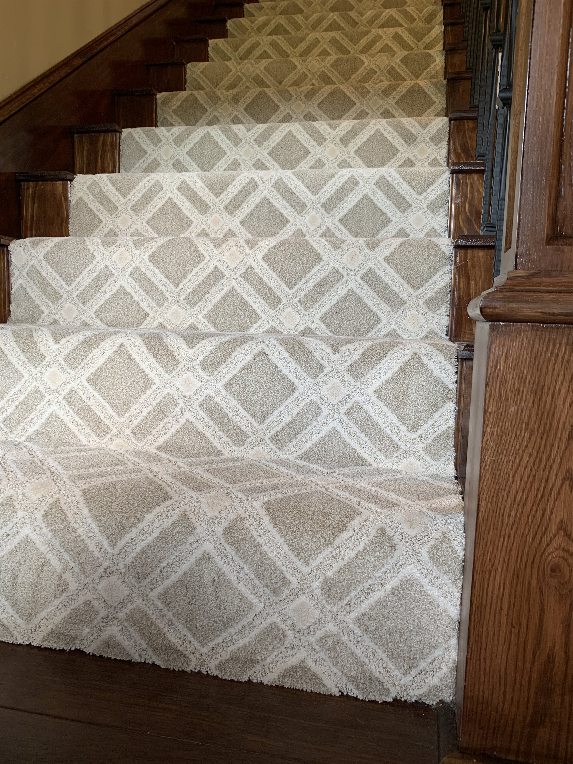 Patterned stair carpet in Beaumont, TX from Odile's Fine Flooring & Design