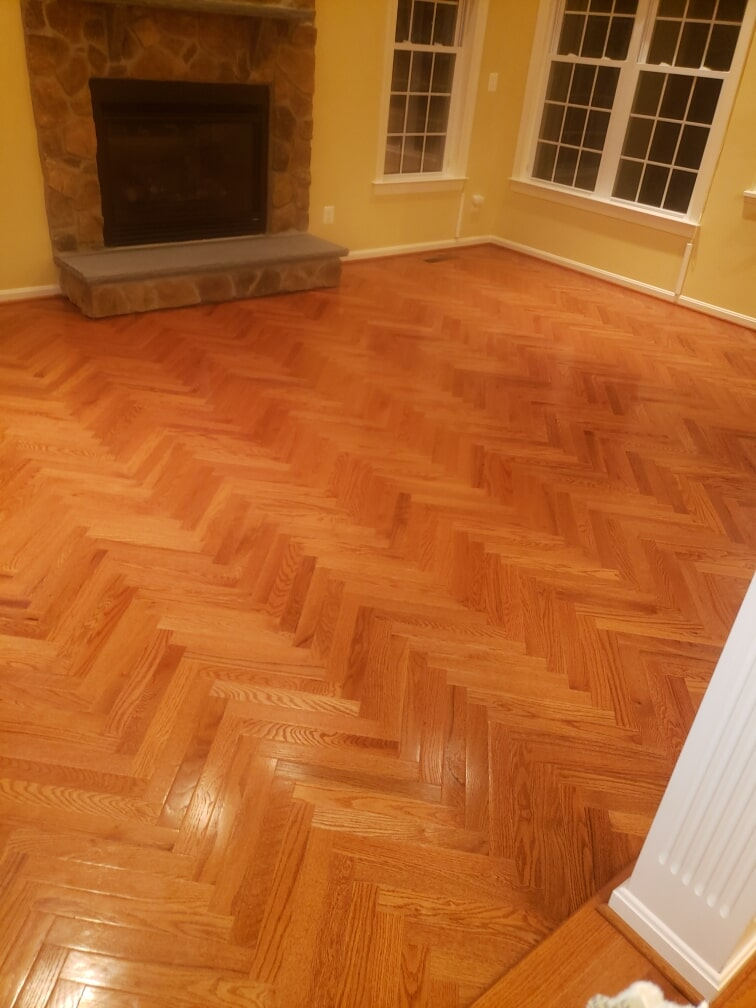 Herringbone hardwood installation in Washington, DC from Andonian's Carpet Warehouse