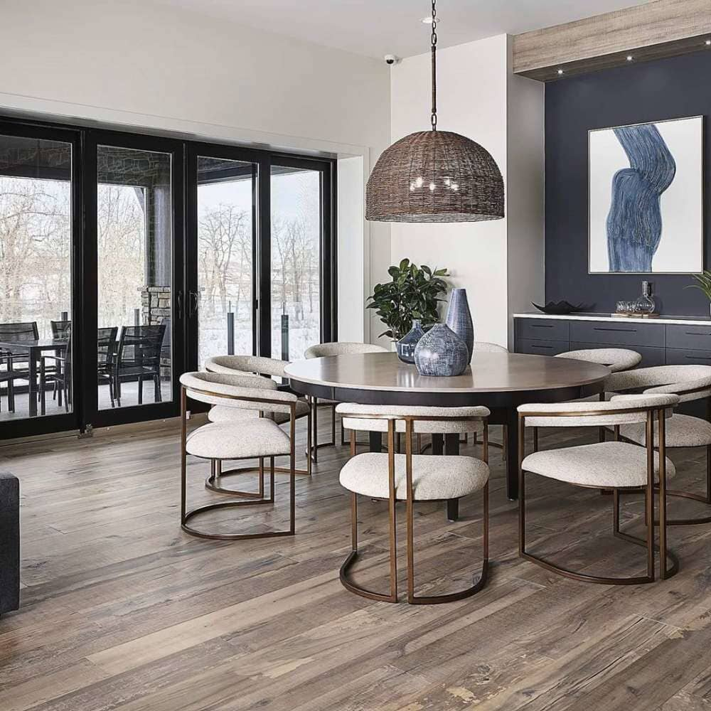Formal dining with rustic design and distressed wood floors available in Bridgeport, CT