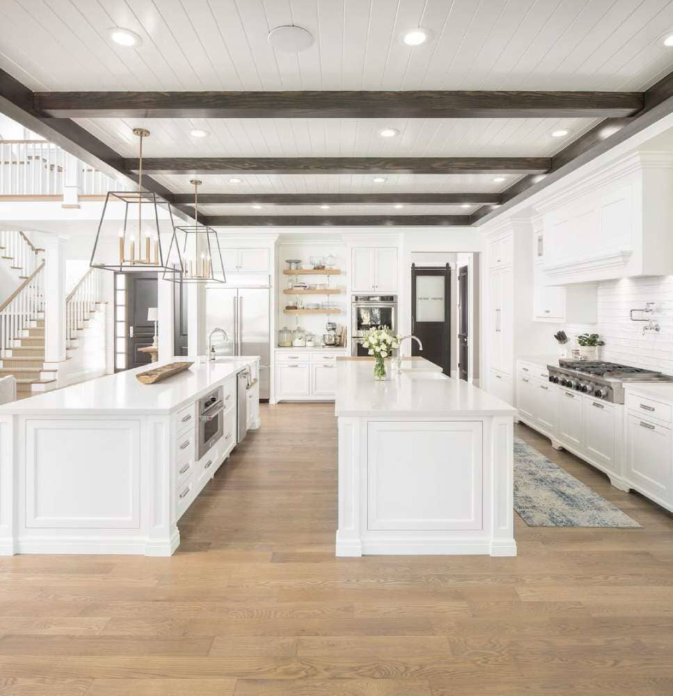 Huge open kitchen with two islands and classic wood floors available in Stamford, CT