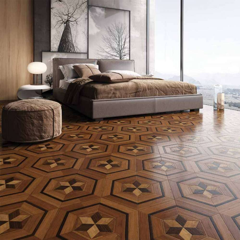 Custom geometric hardwood flooring design available in Bridgeport, CT
