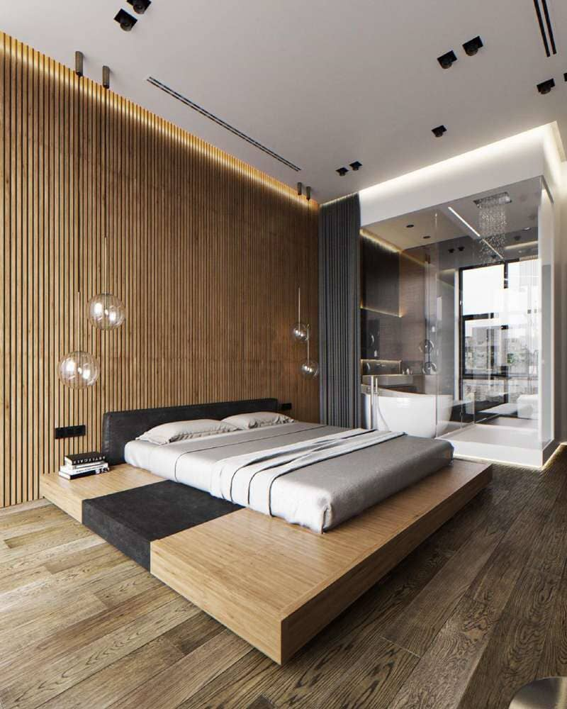 Floating bed in master space with rustic wood flooring available in Stamford, CT