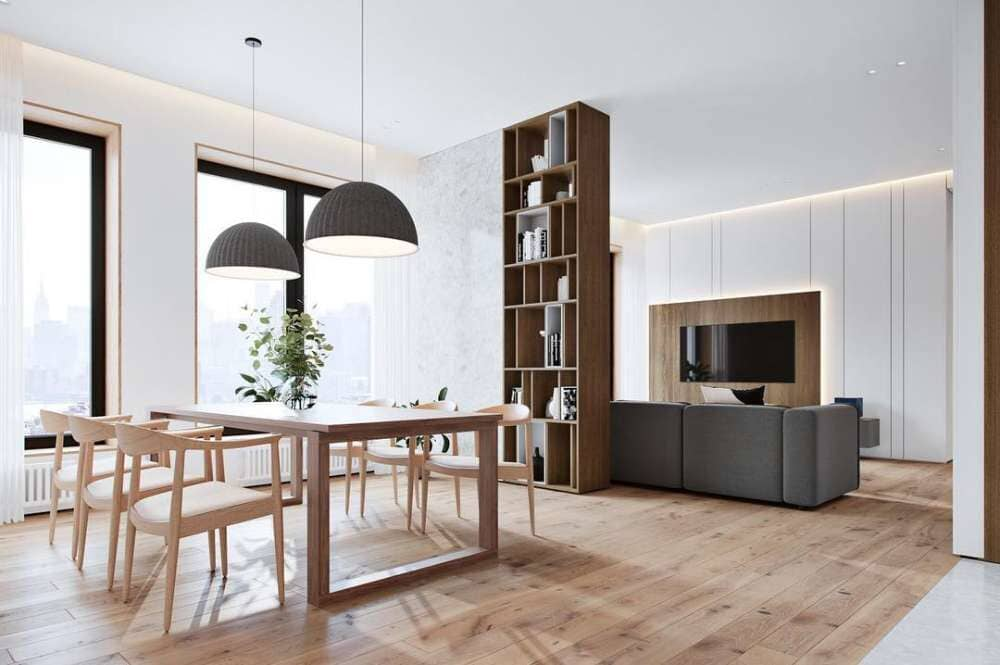 Open living and dining space with continuous wood flooring available in Stamford, CT