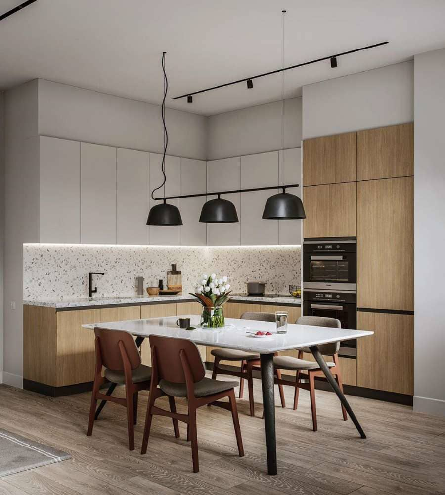 Modern kitchen and dining area with rustic hardwood flooring available in Stamford, CT