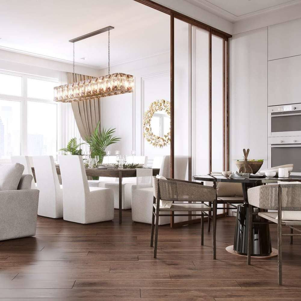 Beautiful dining area with gold and white accents and dark tone wood floors available in Stamford, CT