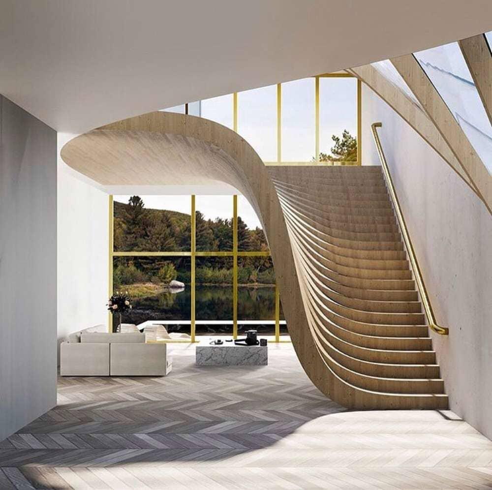 Artistic stair design atop grey tone herringbone hardwood available in Stamford, CT
