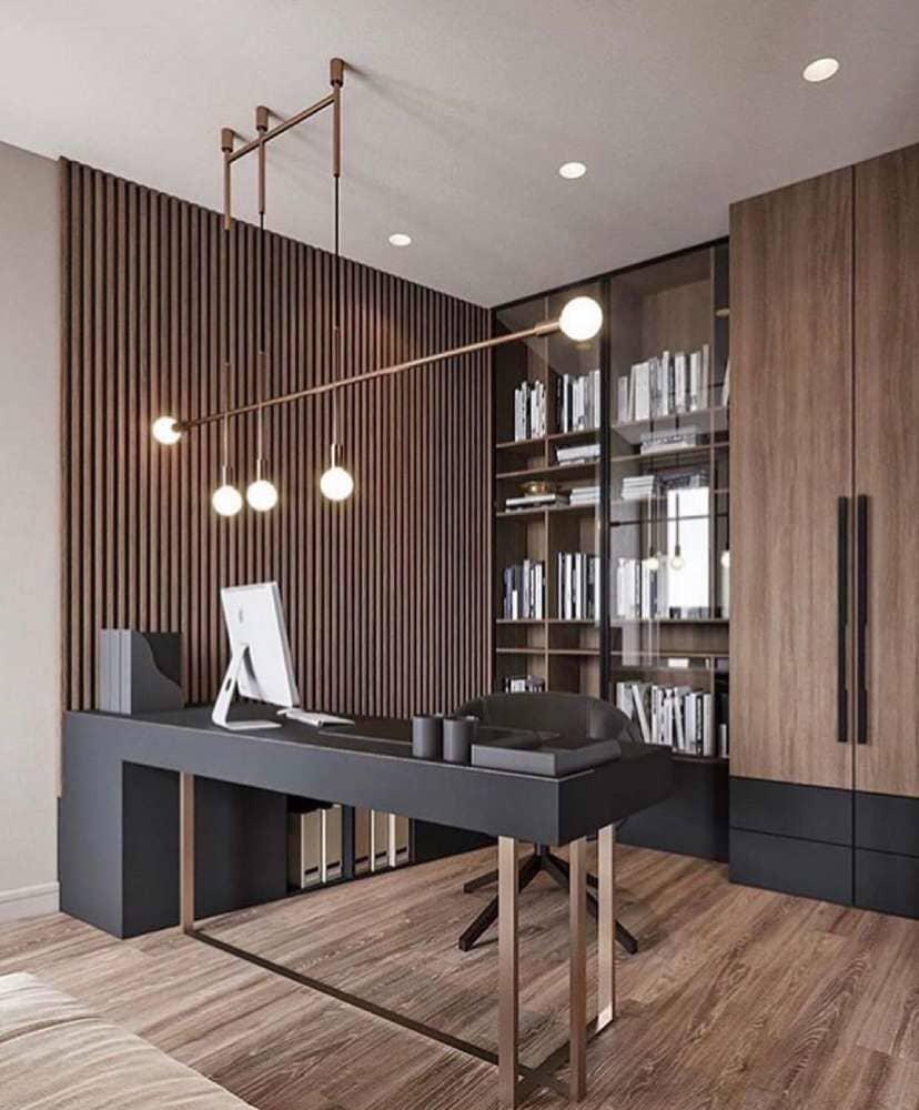 Art deco in home office with rustic hardwood flooring available in Bridgeport, CT