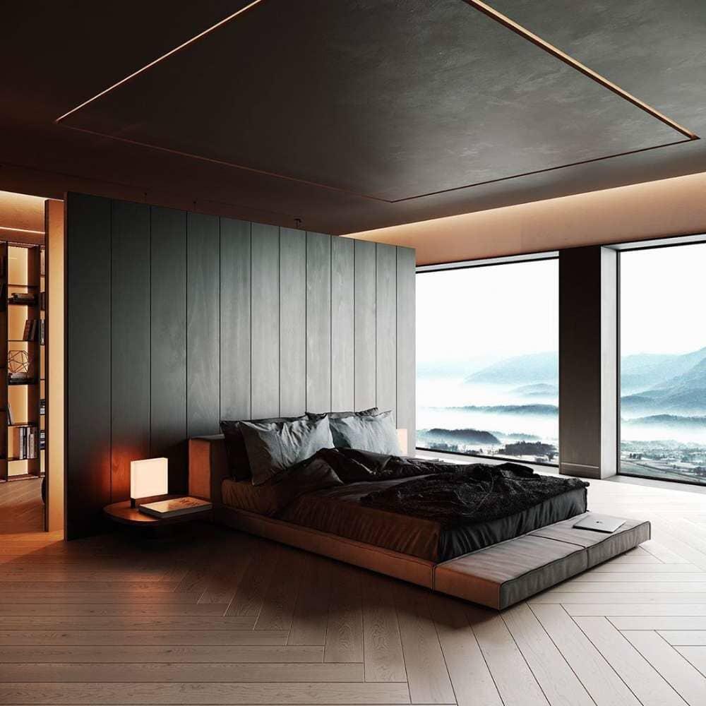 Beautiful floating bed in an open master bedroom with herringbone hardwood