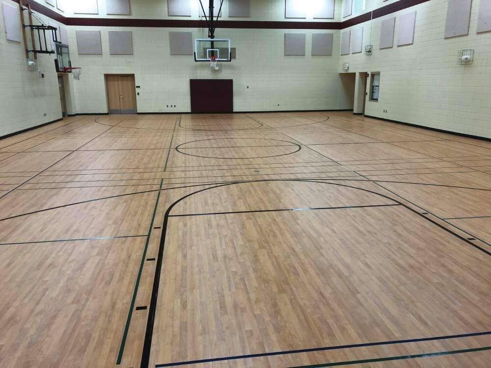 Gymnasium flooring installation in North Dakota from Hiller Stores