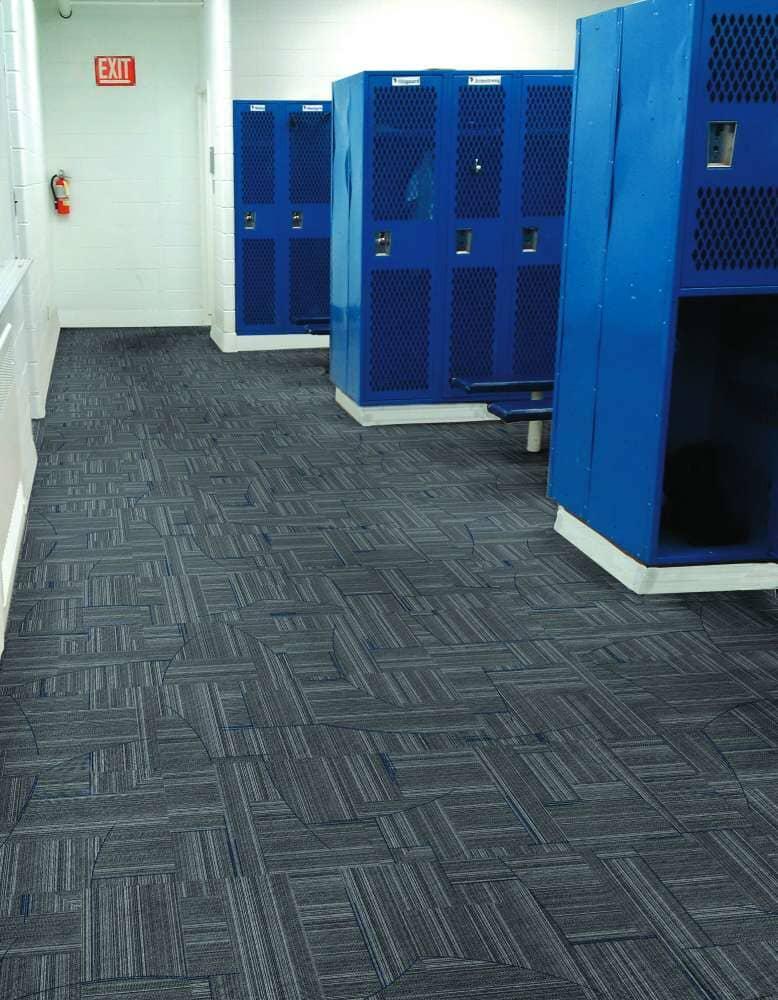 Locker room flooring installation in North Dakota from Hiller Stores