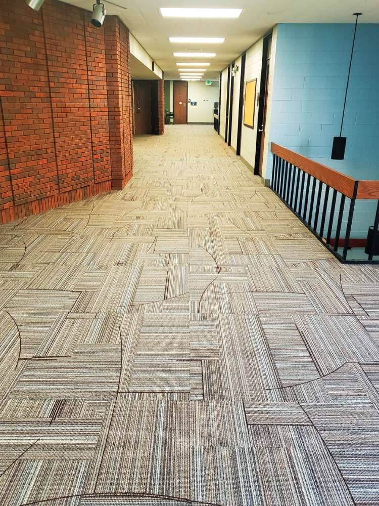School hallway flooring installation in South Dakota from Hiller Stores