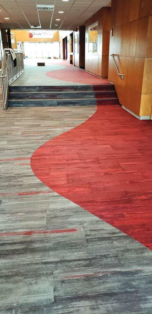 Custom commercial flooring installation in North Dakota from Hiller Stores