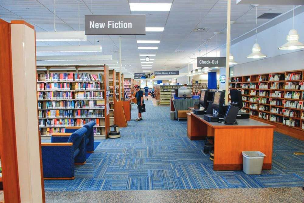 Blue tone commercial carpet in Wisconsin from Hiller Stores