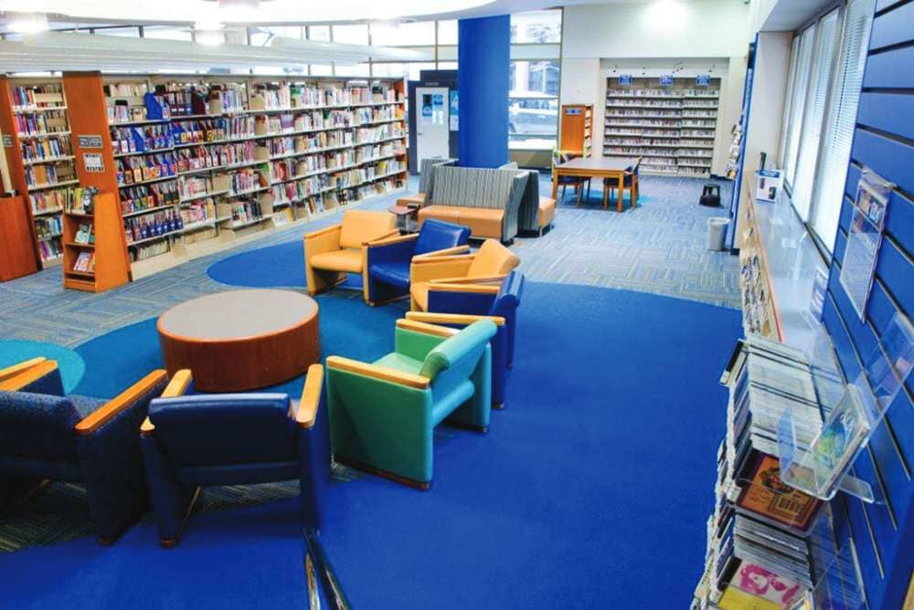 Blue carpet installation in North Dakota from Hiller Stores