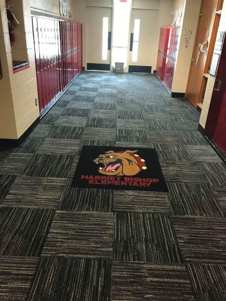 Flooring installation at Harriet Bishop Elementary from Hiller Stores