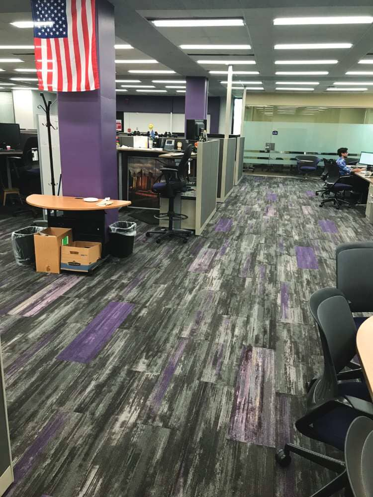 Purple accent commercial flooring in North Dakota from Hiller Stores