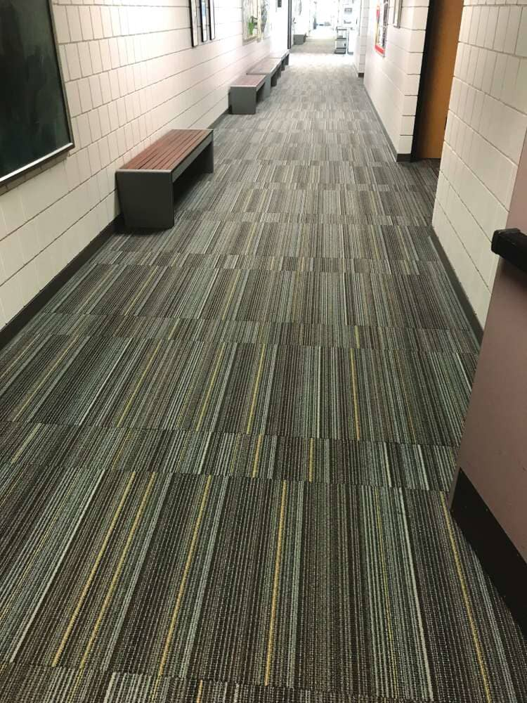 Striped commercial flooring in Minnesota from Hiller Stores