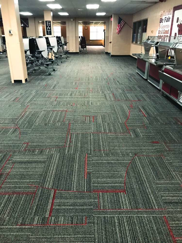 Red accent commercial carpet in Iowa from Hiller Stores