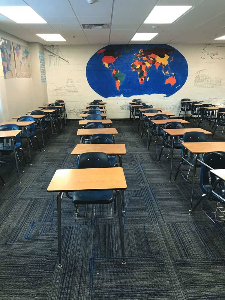 Commercial carpet in a classroom in Minnesota from Hiller Stores