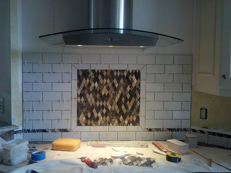 Glass tile backsplash in Collier County, FL from Classic Floors & Countertops