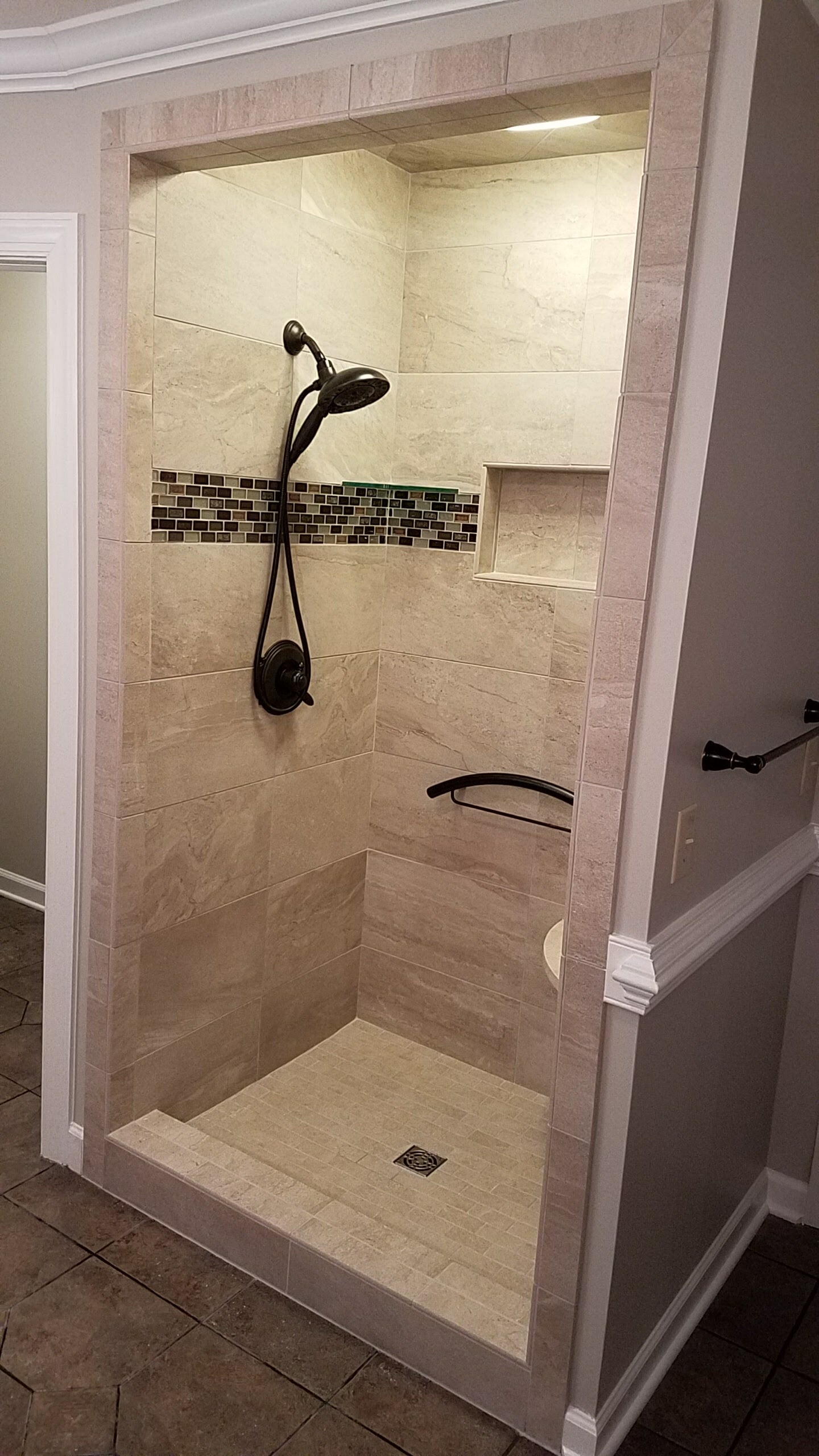 Modern shower installation in Blowing Rock, NC from McLean Floorcoverings