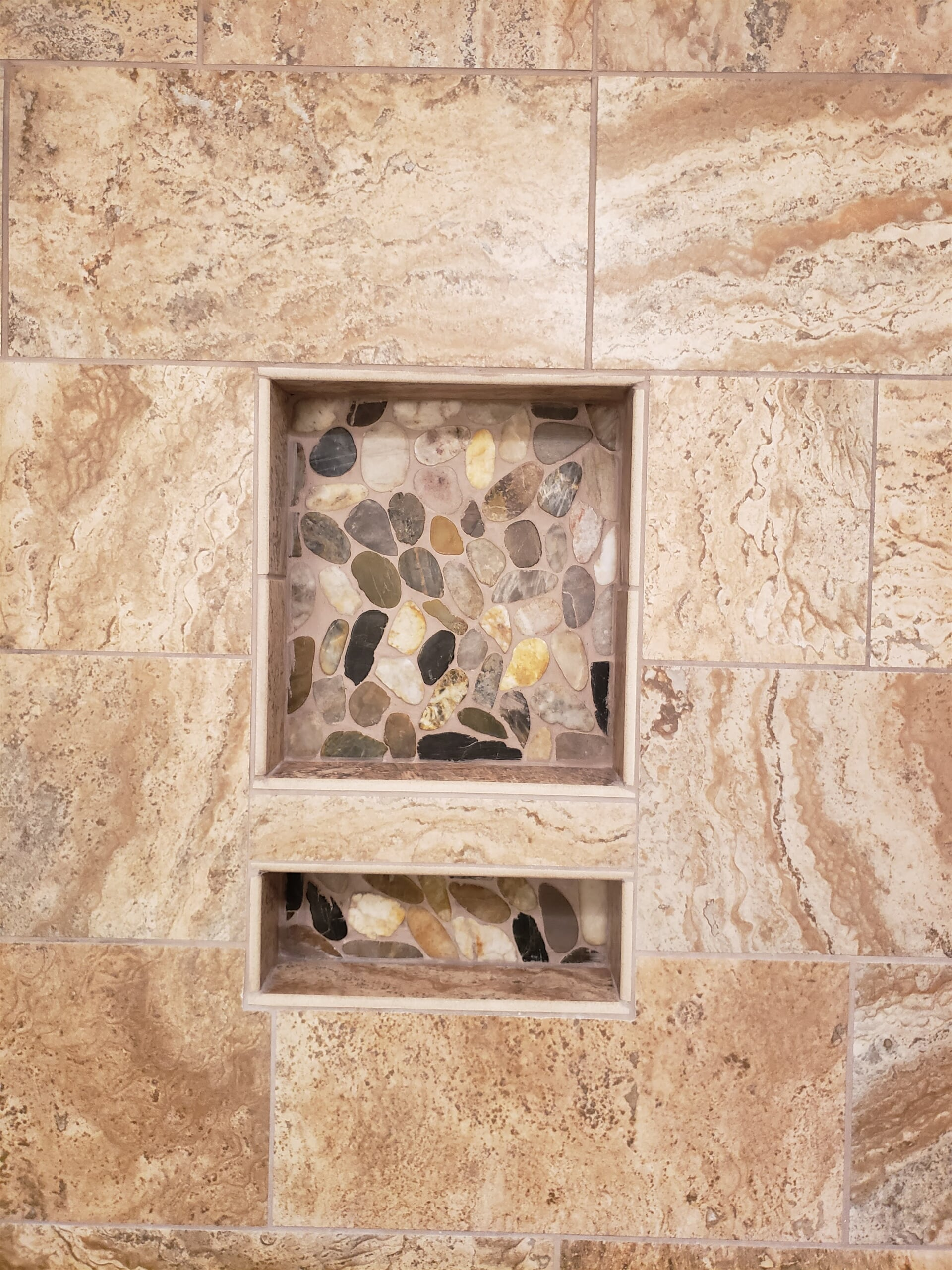 Custom recessed shower shelving in Lenoir, NC from McLean Floorcoverings
