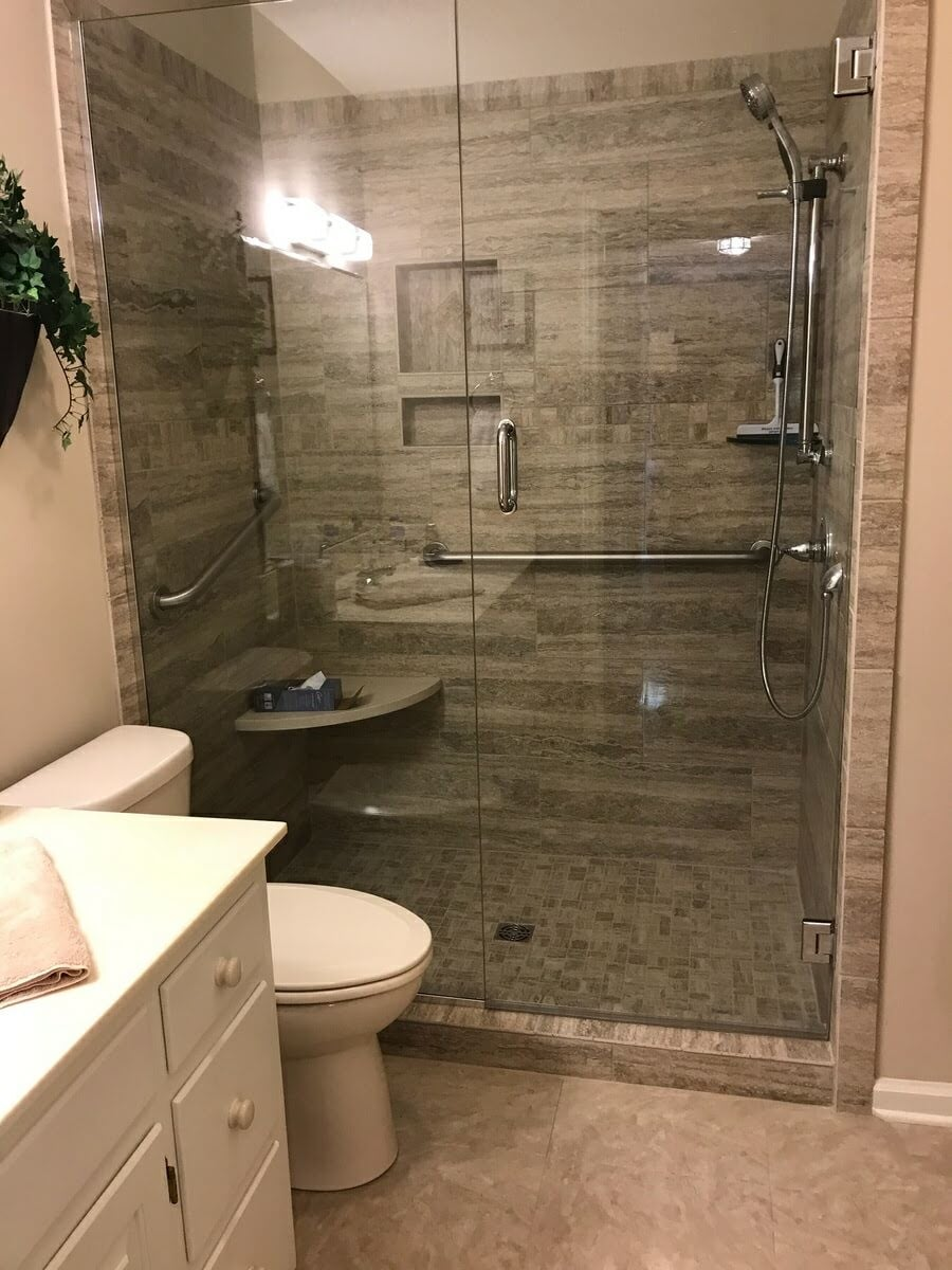 Modern shower renovation in Hickory, NC from McLean Floorcoverings