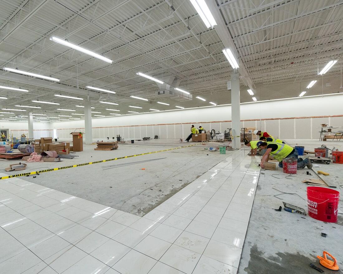 The Carlson's Floors installation team at Burlington in Burbank, IL