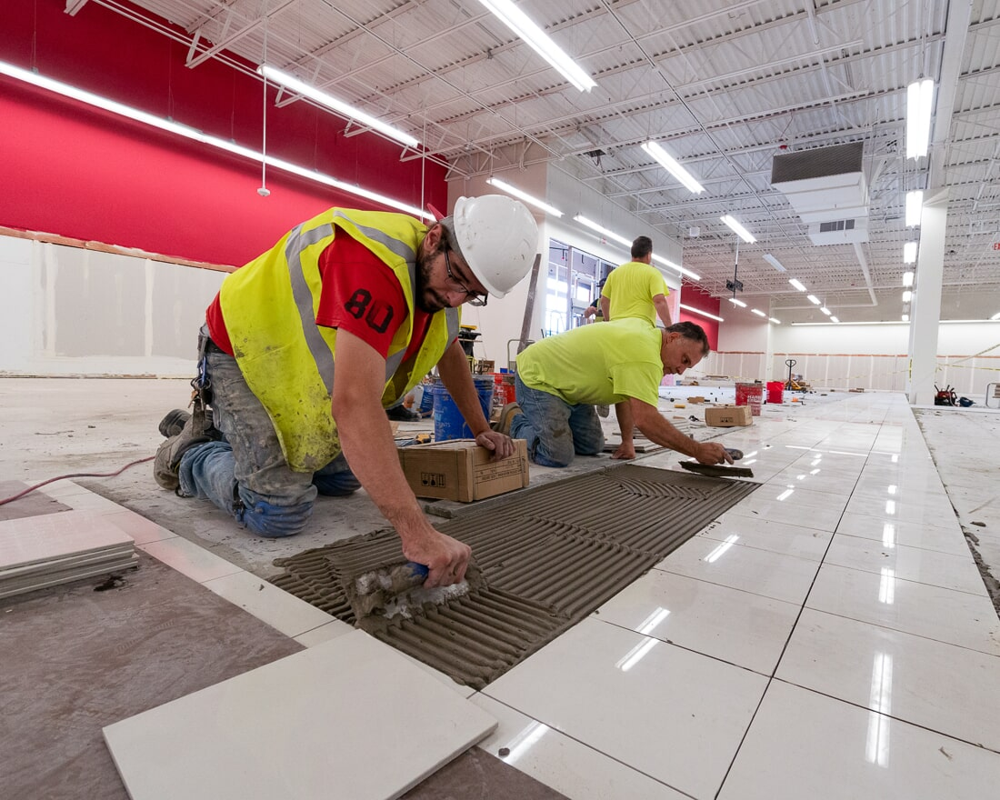 Laying tile at Burlington in Burbank, IL from Carlson's Floors
