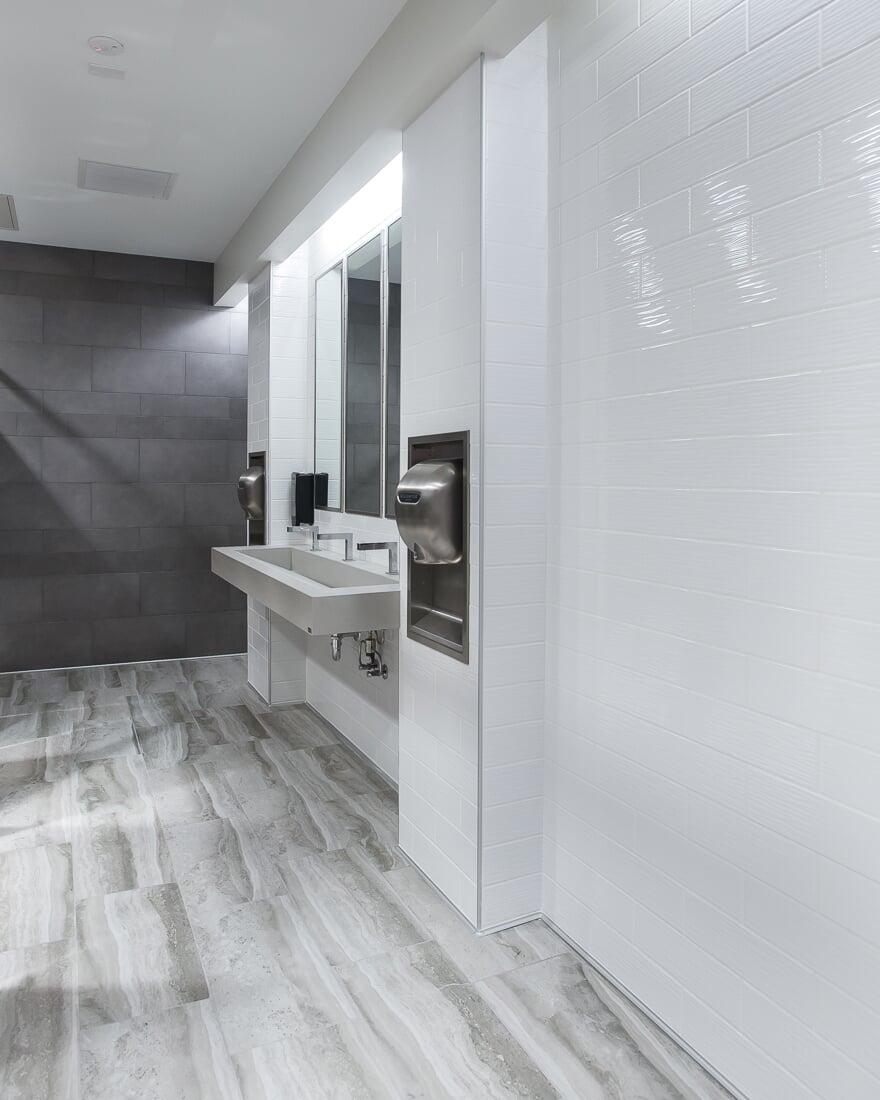 Commercial bathroom design at Burlington in Burbank, IL from Carlson's Floors