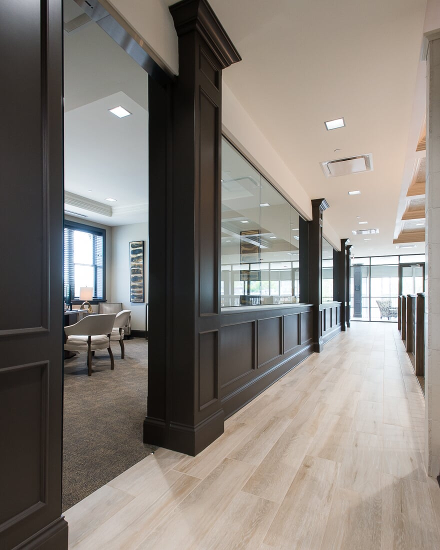 Modern commercial flooring at Sterling Bank in St. Charles, IL from Carlson's Floors