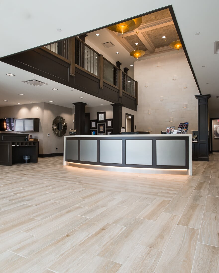 Flooring installation at Sterling Bank in St. Charles, IL from Carlson's Floors
