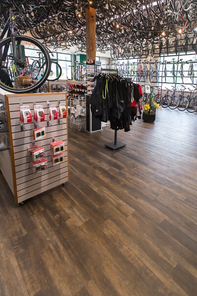 Shaw flooring at Mill Race Cyclery in Geneva, IL from Carlson's Floors