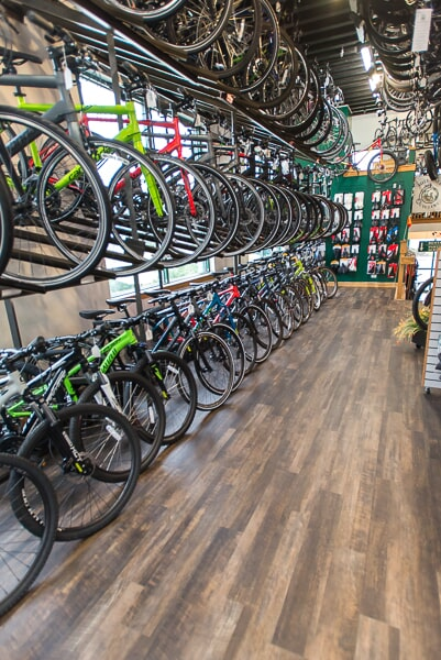 Luxury vinyl flooring at Mill Race Cyclery in Geneva, IL from Carlson's Floors