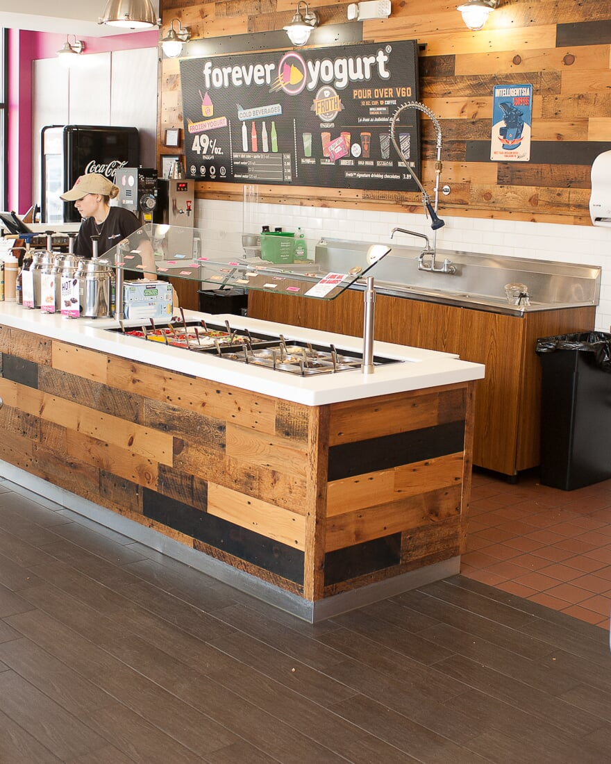 Commercial installation at Forever Yogurt in St. Charles, IL from Carlson's Floors