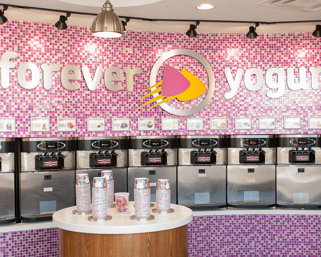 Glass tile installation at Forever Yogurt in St. Charles, IL from Carlson's Floors