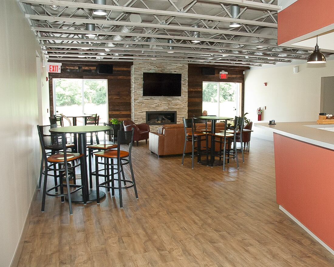 Commercial wood look flooring at Crossway Chapel in Batavia, IL from Carlson's Floors